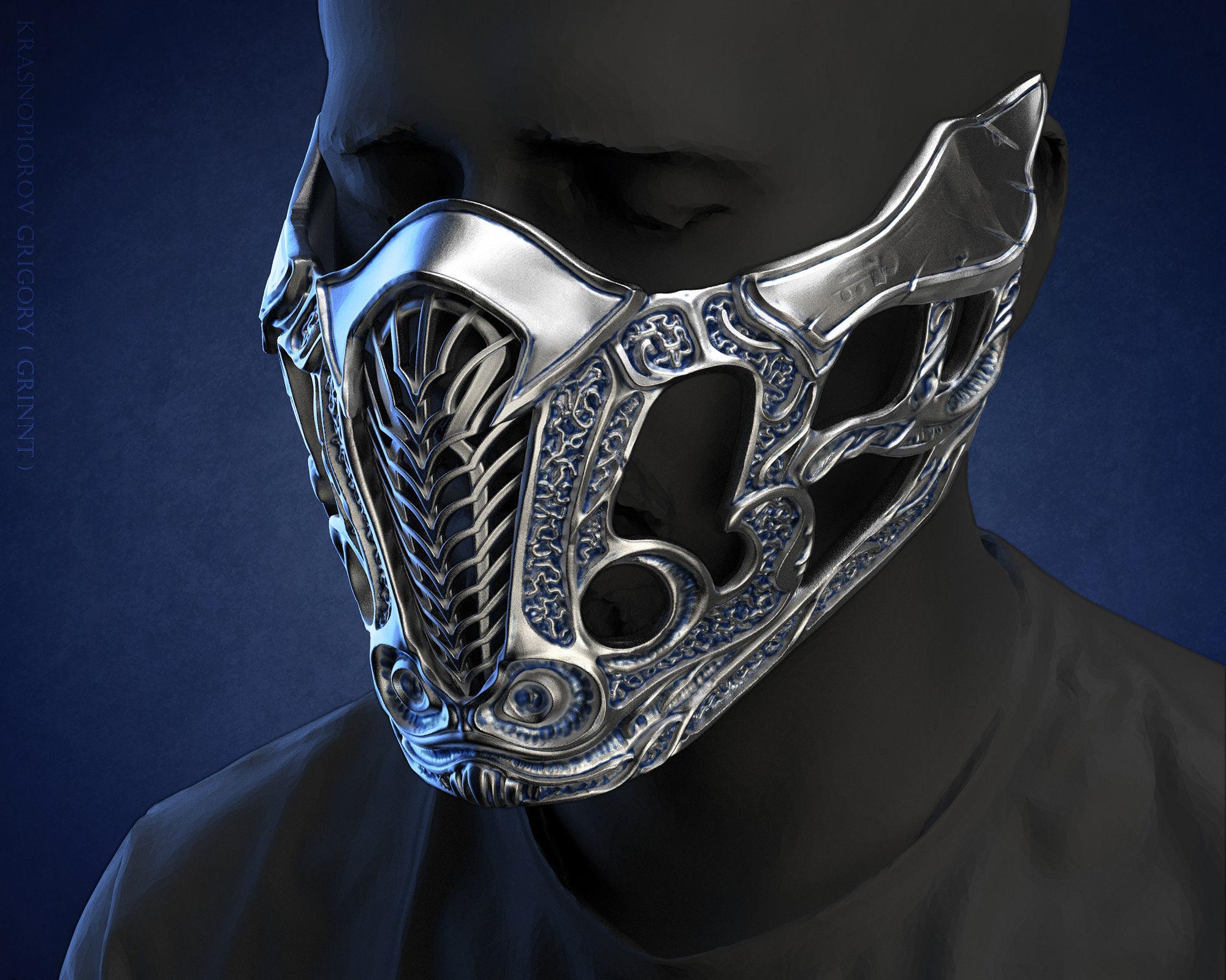 Sub Zero mask for face from Mortal Kombat 2021 3D print model
