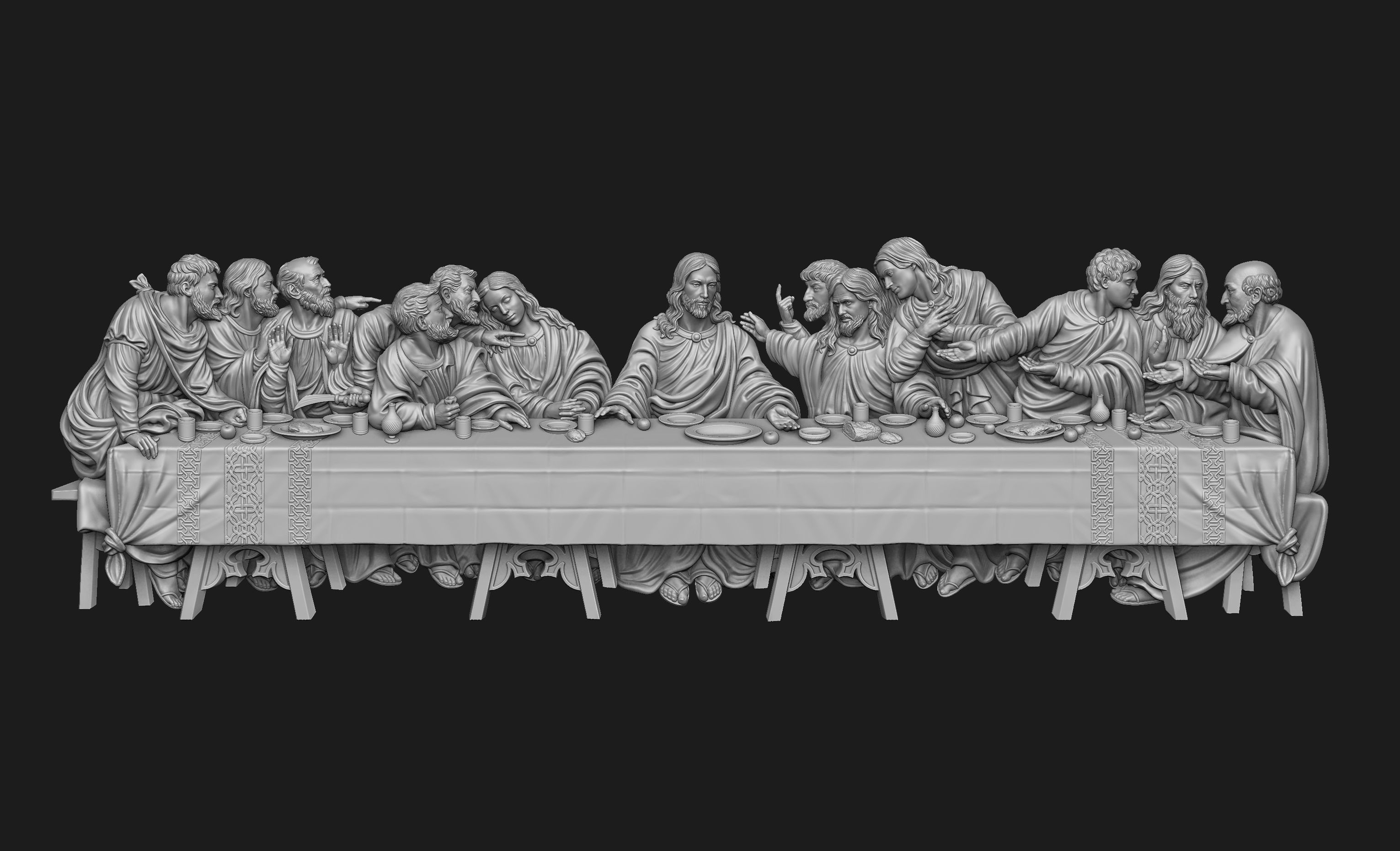 Last Supper Bas-Relief No Background