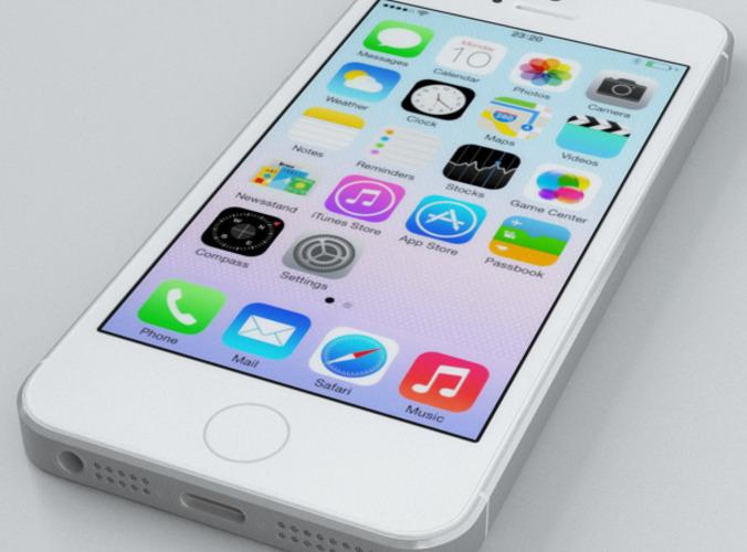 apple iphone 5s silver 3d model max obj fbx c4d. Black Bedroom Furniture Sets. Home Design Ideas