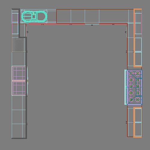 Complete Kitchen Cabinets Appliances 3D Model MAX