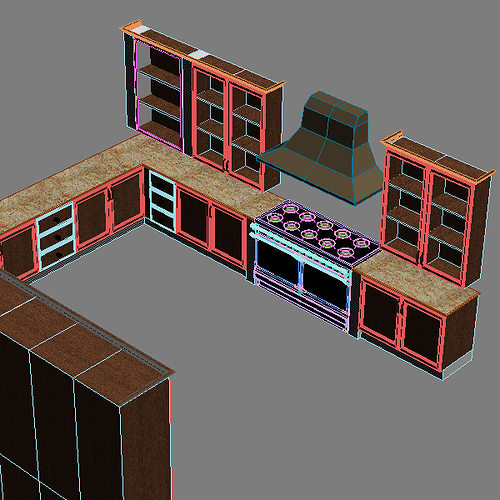 Complete kitchen cabinets appliances 3d model max for Kitchen set 3d warehouse