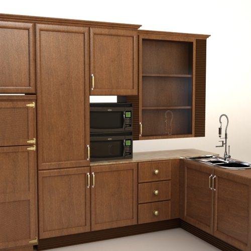 Complete kitchen cabinets appliances 3d model max for Complete kitchen units