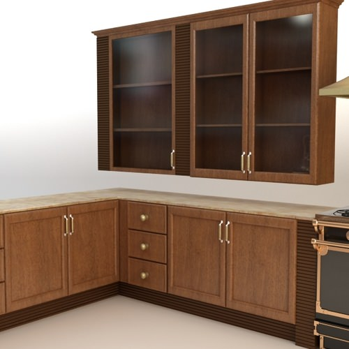 Complete kitchen cabinets appliances 3d model max for Kitchen cabinets models
