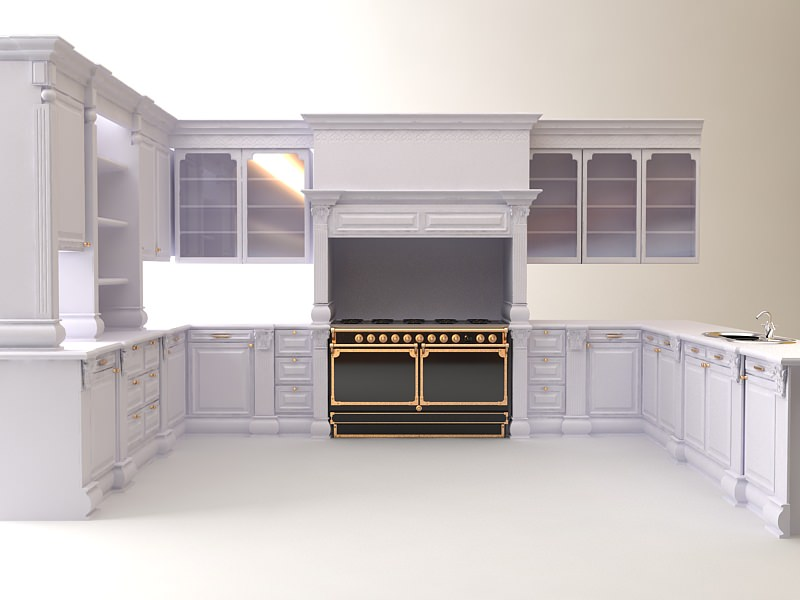 Kitchen 3D Model Kitchen Cabinets Appliances 3D  Cgtrader