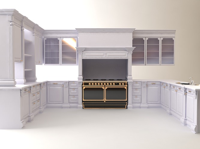 Kitchen cabinets appliances 3d model max 3ds for Kitchen cabinets models