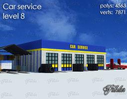 Car service level 3D asset low-poly