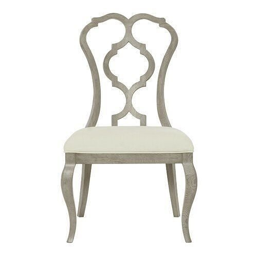 Marquesa Queen Anne Back Side Chair in White - Light Gray
