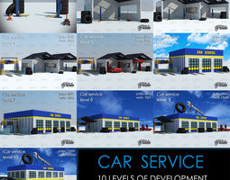 CAR SERVICE all 10 levels 3D asset