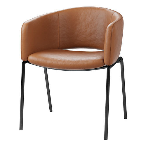 FARFIELD Brown leather and black metal dining chair