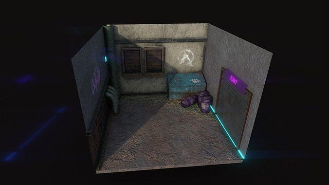 Back Alley Backdrop - Neon Cyberpunk Scenery - Full Perm