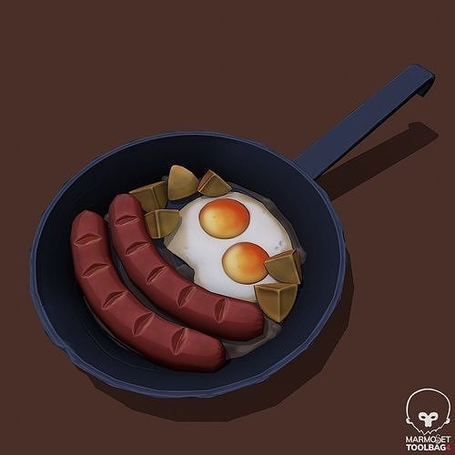 Stylized Sausage Pan  Pbr