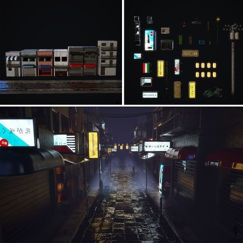 Japanese street alley Pack low-poly 3d model