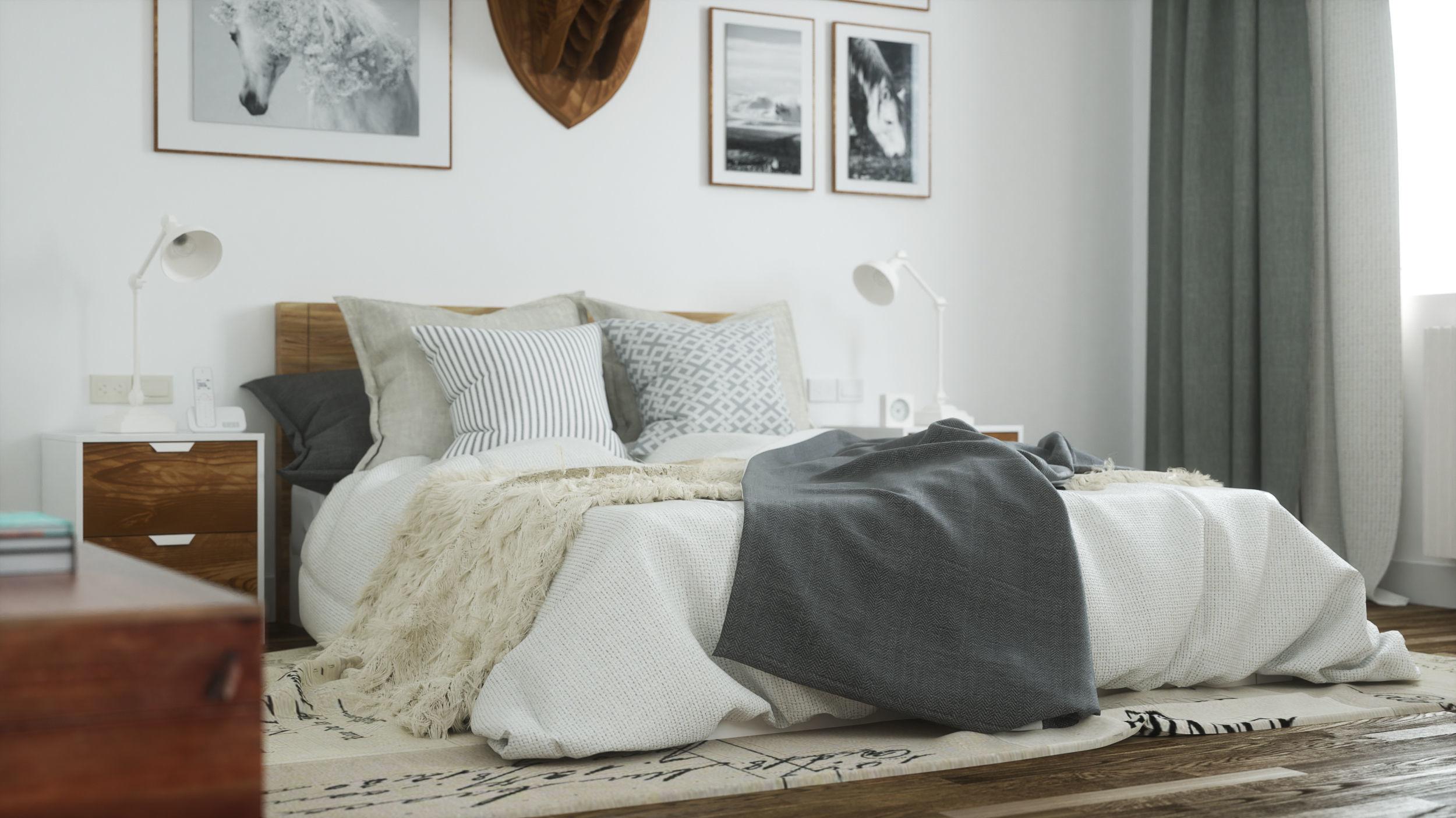 Scandinavian Bedroom Octane Render