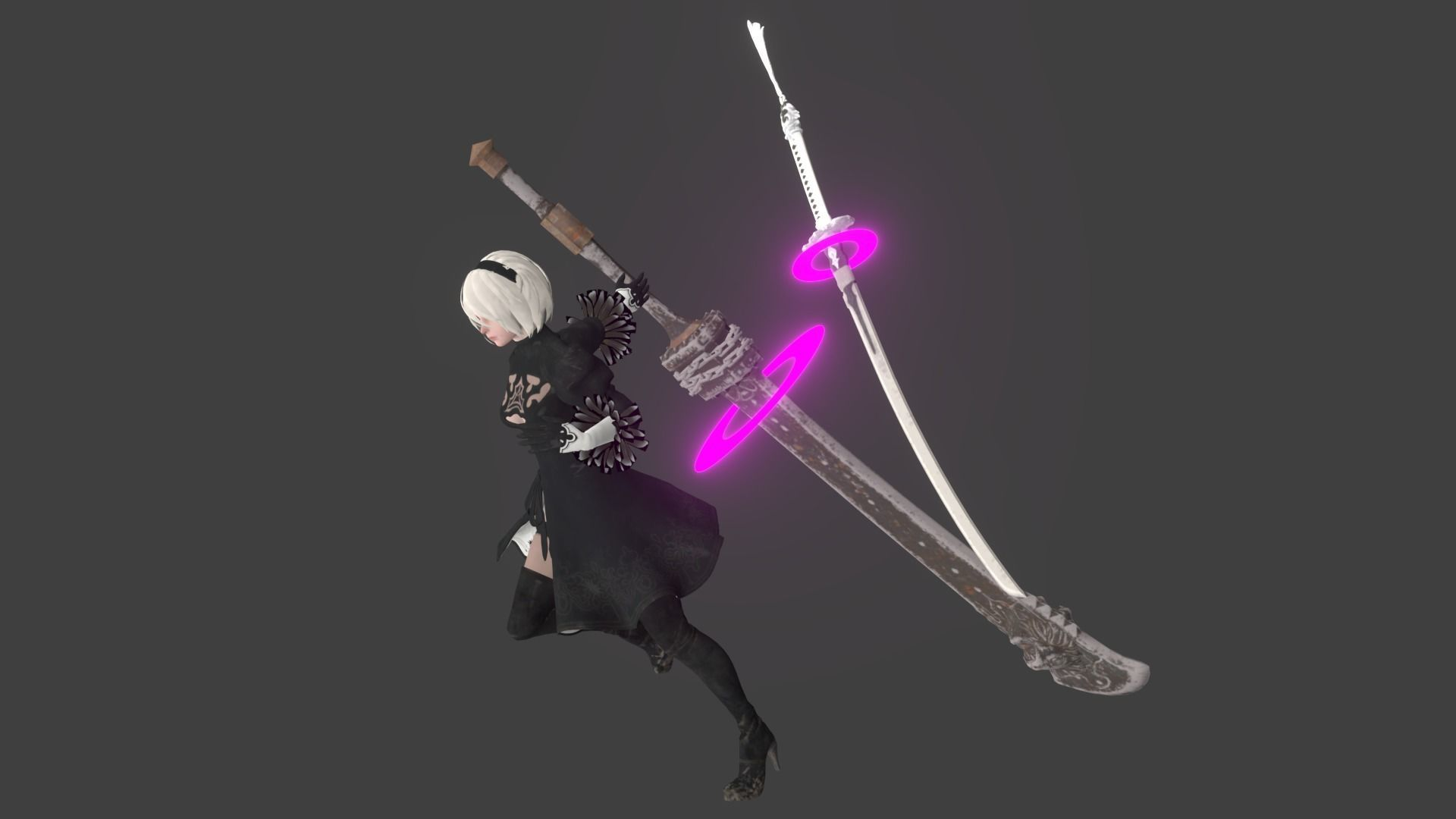 Cute 2B Nier Automata rigged Animated Gameready