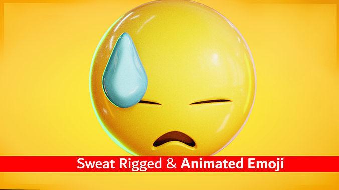Animated Sweat Emoji Low Poly