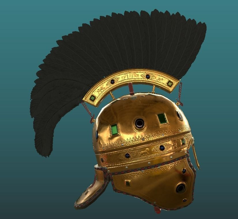 Highly Detailed Late Roman Feather Crested Budapest Helmet