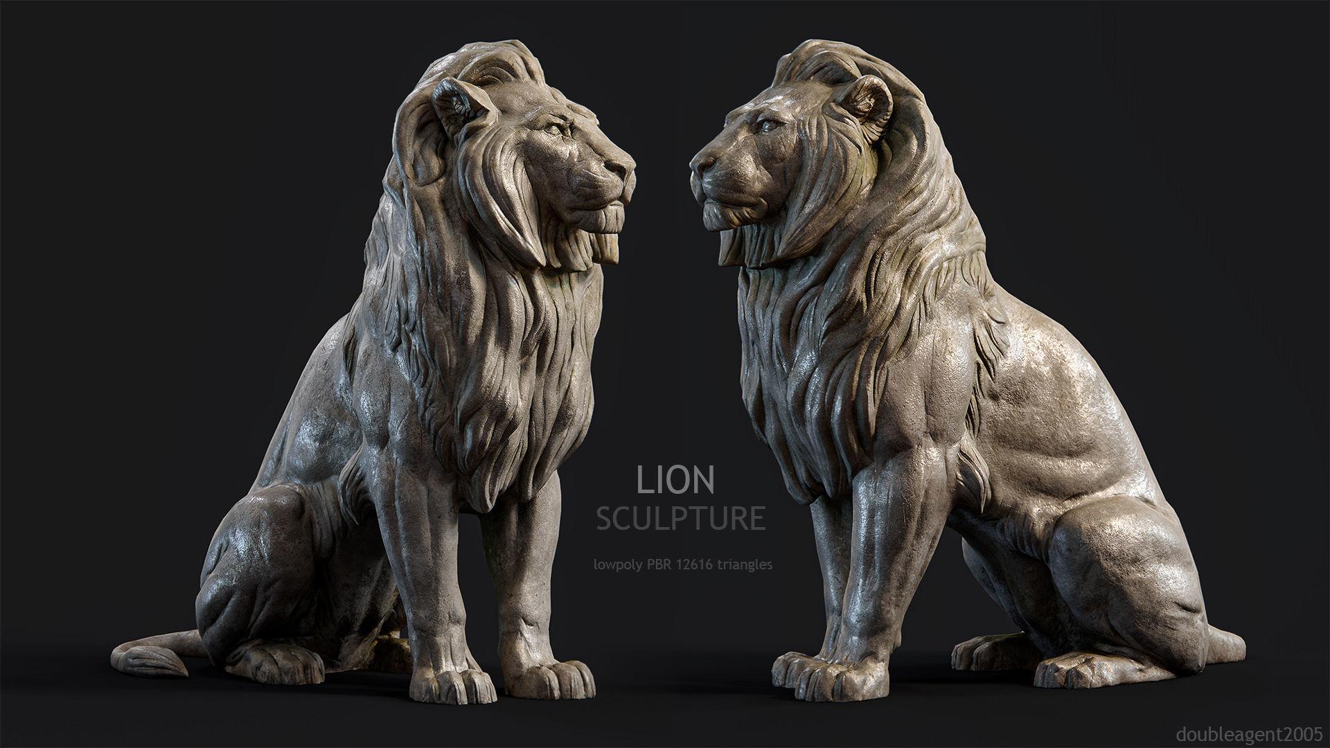 Sitting Lion Sculpture PBR Low-poly