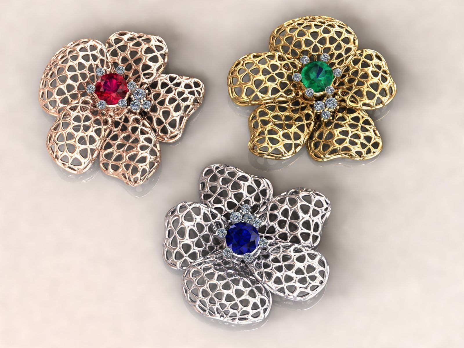 Wireframe  Flowers Flower Charm Pendant