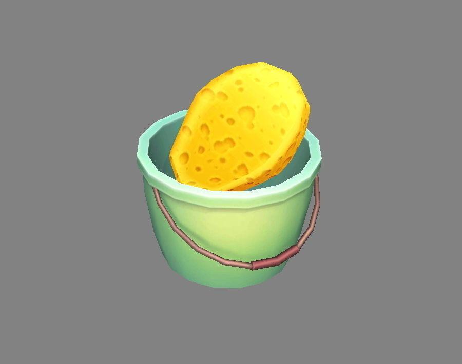 Cartoon Bucket and Sponge