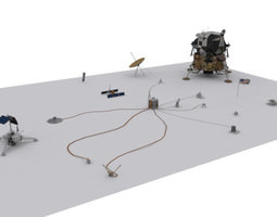 ALSEP and Lunar Module 3D asset