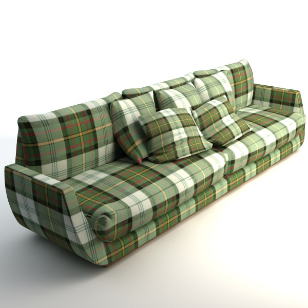 scottish plaid sofa 3d model max obj 3ds fbx. Black Bedroom Furniture Sets. Home Design Ideas