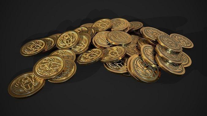 gold coin - scarab design A