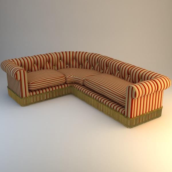 get cheap a6641 456c0 Striped Corner Sofa | 3D model