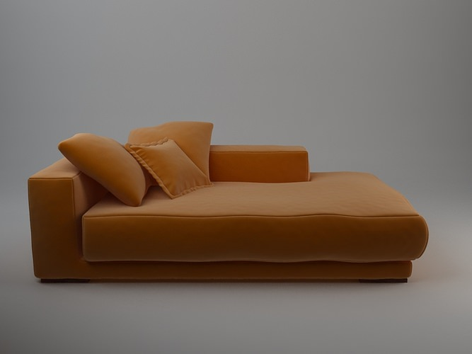 Orange Sofa Daybed 3d Model Max Obj 3ds Fbx