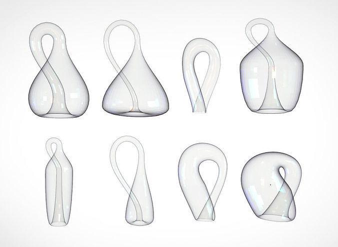Klein Bottle - Set of 8 Low-Poly 3D models - 3D Math Art