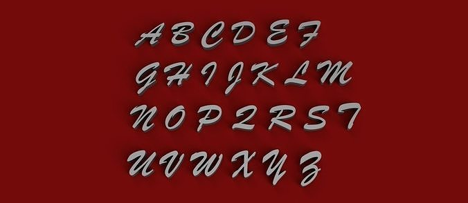BRUSH MT Font uppercase and lowercase 3D Letters STL FILE