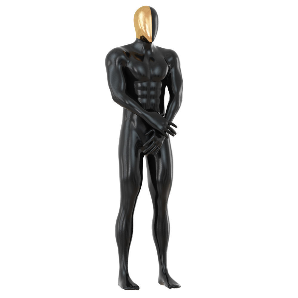 Black Male Mannequin with Golden Mask 144