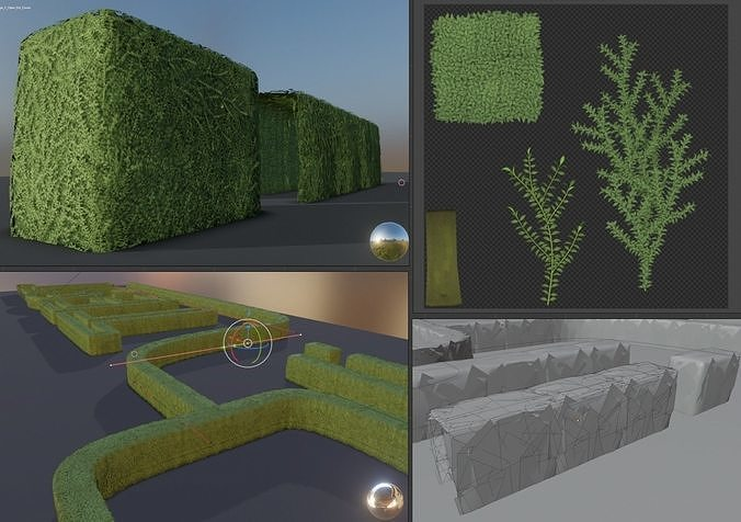 Low-Poly Boxwood Hedge Version 2