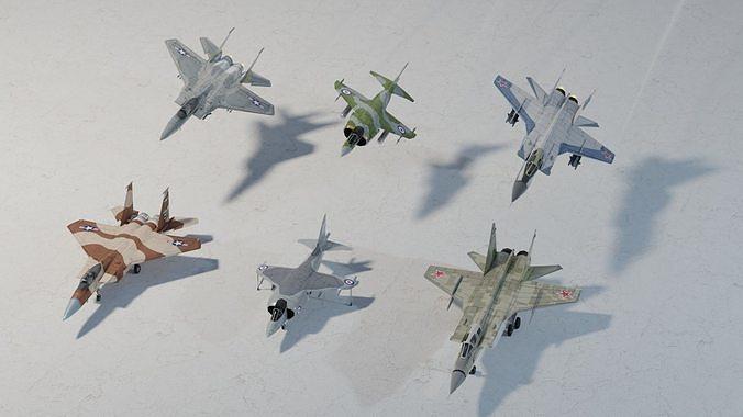 Modern fighters lowpoly set D  3 x 2