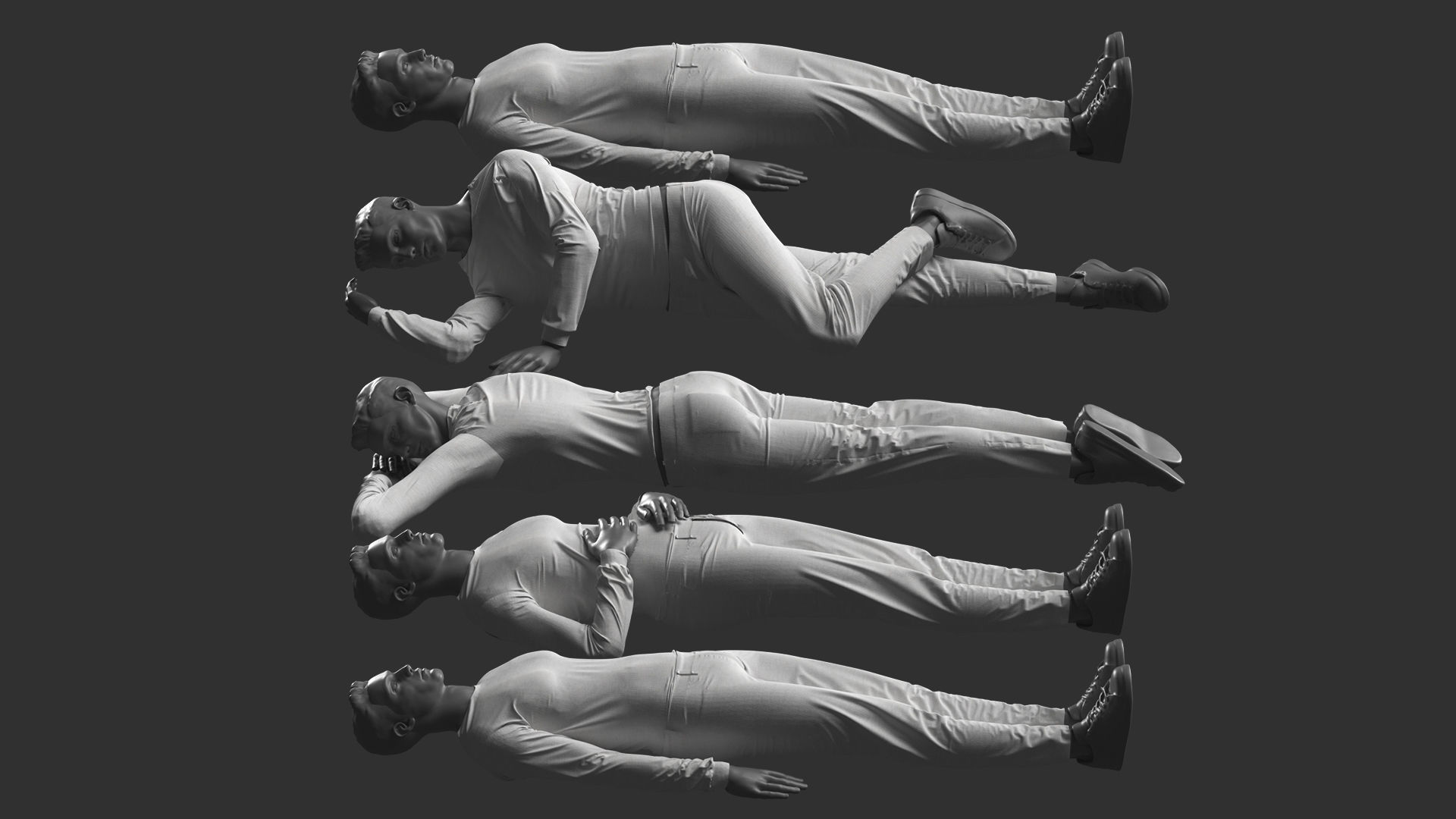 Man Mannequin Lying 5 Poses