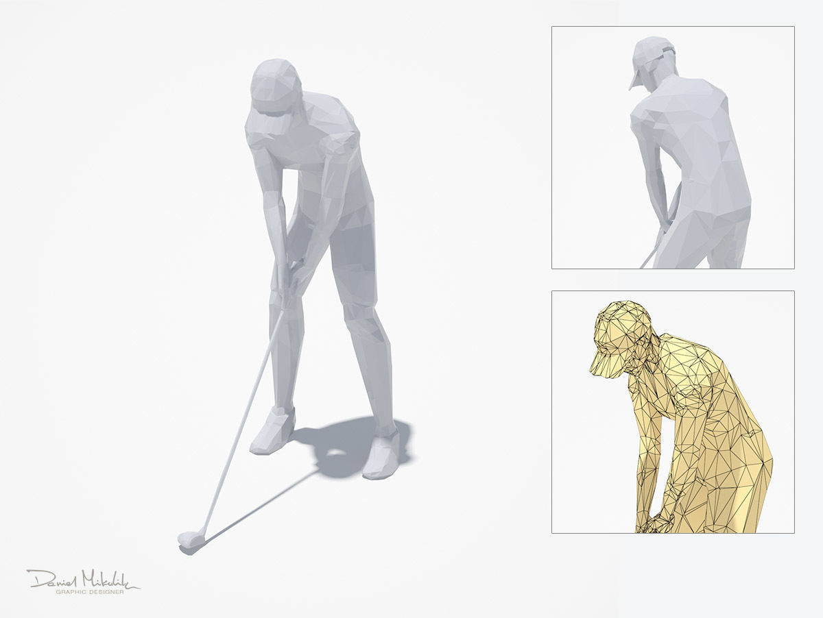Golf Pose Sport Character