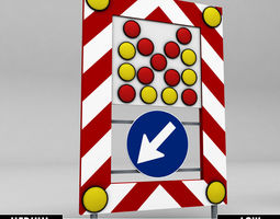 realtime sign accident street lamp low poly 3d model