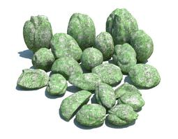 3d rocks covered in green moss