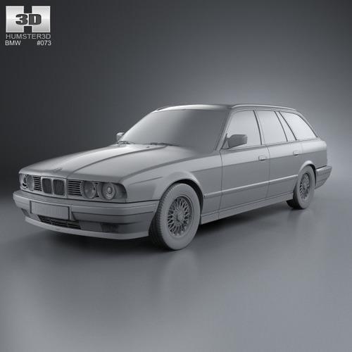 BMW 5 Series Touring E34 1993 3D Model MAX OBJ 3DS FBX C4D