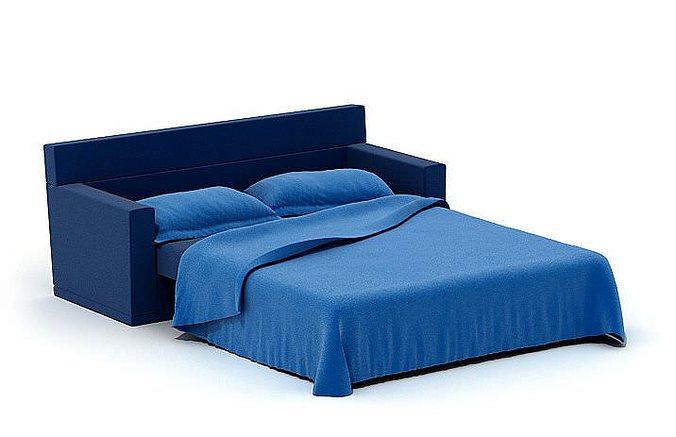 Blue sofa bed 3d model obj for Sofa bed 3d model