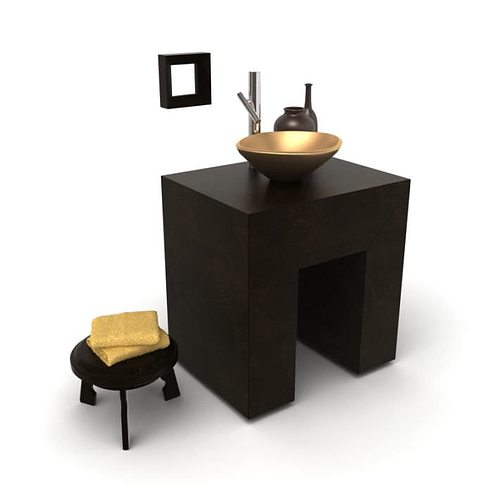 dark stylish bathroom furniture 3d model  1