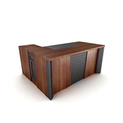 wooden office desk with black inset panels 3d model