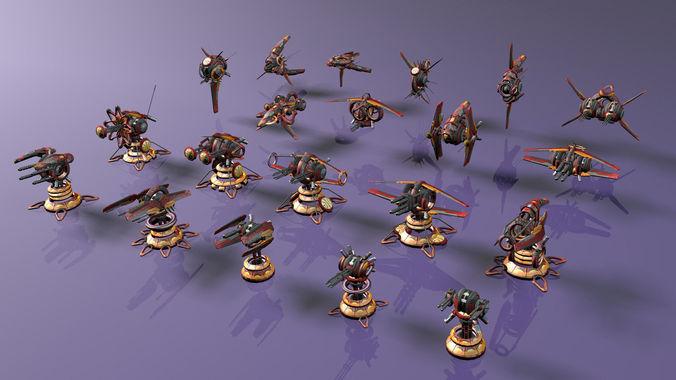 tower defense pack 3d model low-poly max obj fbx mtl tga 47