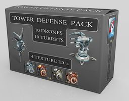 3d asset game-ready tower defense pack