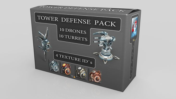 tower defense pack 3d model low-poly max obj fbx mtl tga 1