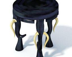 antique black velvet african foot stool with white ivory horns 3d