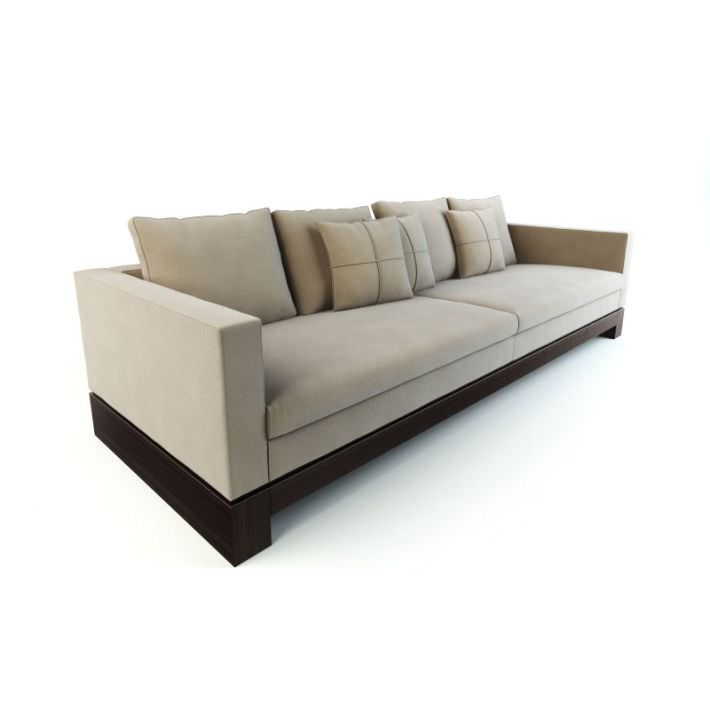 Magnificent Long Modern Tan Couch With A Wooden Base 3D Model Caraccident5 Cool Chair Designs And Ideas Caraccident5Info