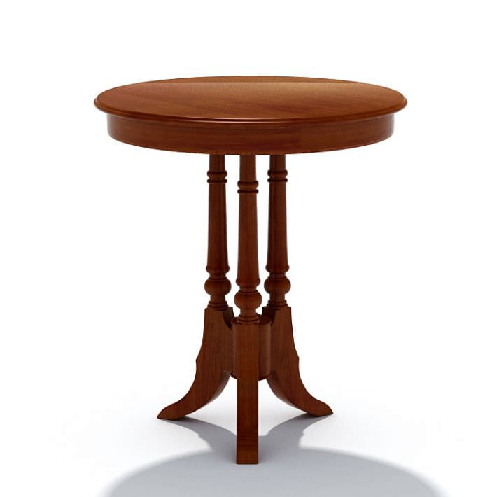 wooden small round table 3d model
