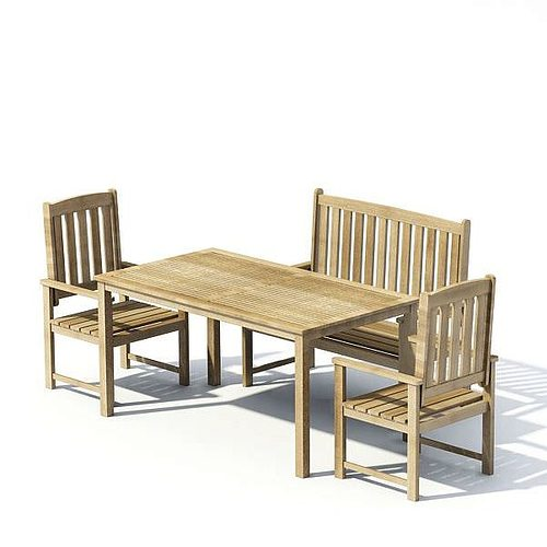 wooden garden table with two chairs and a bench 3d model. Black Bedroom Furniture Sets. Home Design Ideas