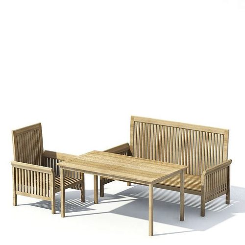 wooden patio furniture with table 3d model. Black Bedroom Furniture Sets. Home Design Ideas
