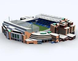 low-poly stamford bridge stadium low poly version 3d model